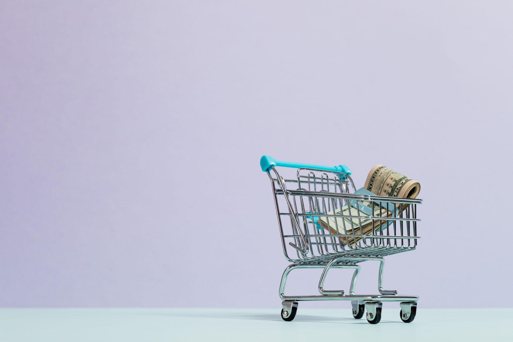 Bild eines Mini-Einkaufswagens mit Geld im Inneren.